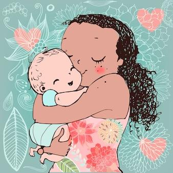 Postal de vector de madre y niño pequeño para el día de la madre.
