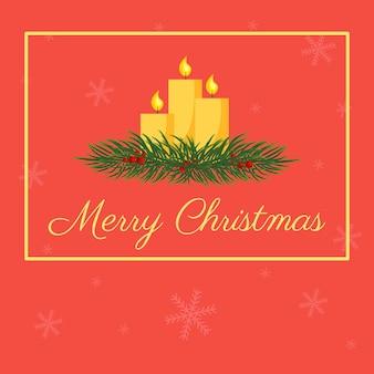 Postal de vector con velas de navidad en una rama de abeto