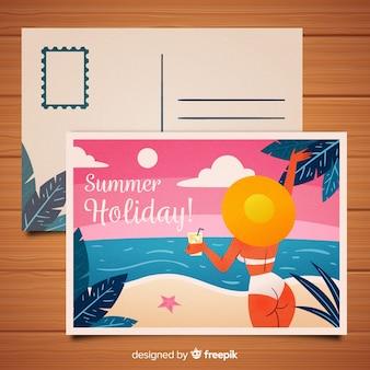 Postal de verano chica en bikini dibujada a mano