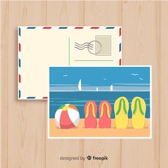 Postal de verano orilla playa dibujada a mano