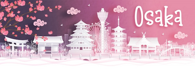 Postal de viaje de osaka en temporada de otoño. japón