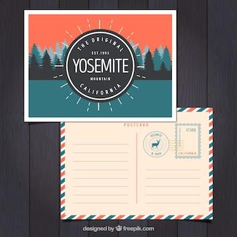 Postal de viaje con paisaje de yosemite