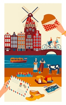 Postal de viaje de los países bajos, símbolos principales de la cultura holandesa y lugares de interés turístico, ilustración