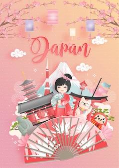 Postal de viaje, póster, publicidad de giras de lugares famosos de japón.