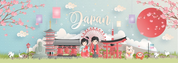 Postal de viaje, tour publicitario de monumentos famosos de japón.