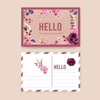 Postal de vino floral con mouquet, serbal, rosa acuarela ilustración.