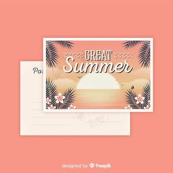 Postal vintage de vacaciones de verano