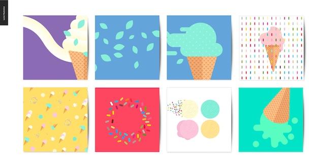 Postales cuadrados de helados