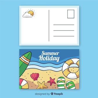 Postales dibujadas de vacaciones veraniegas