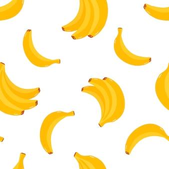 Postales patrón de vector con patrón de frutas tropicales de plátanos amarillos brillantes para camisetas