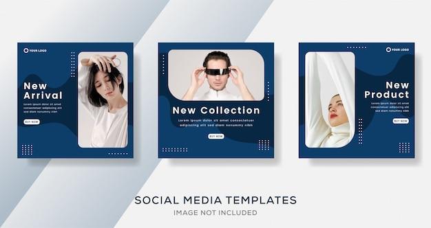 Poste de banner de venta de moda moderna con color azul.