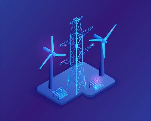 Poste eléctrico y panel solar isométrica ilustración 3d