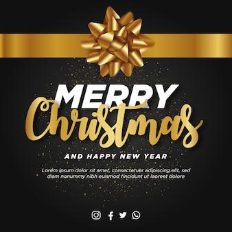 Poste de feliz navidad con cinta dorada realista
