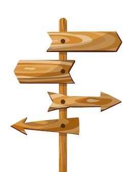 Poste indicador de dirección de madera.