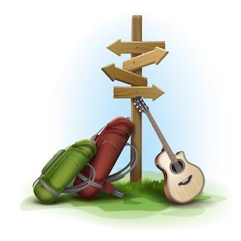 Poste indicador direccional de madera de vector con dos grandes mochilas y guitarra en el fondo