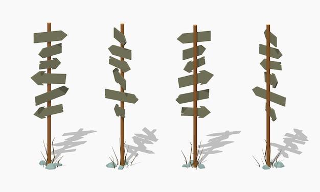 Poste indicador de madera de baja poli con las flechas en blanco