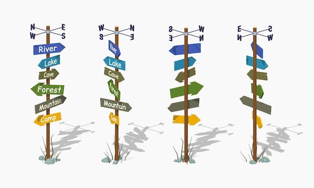 Poste indicador de madera de baja poli con flechas coloridas