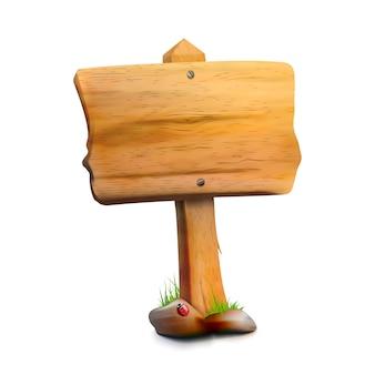 Poste indicador de madera en blanco