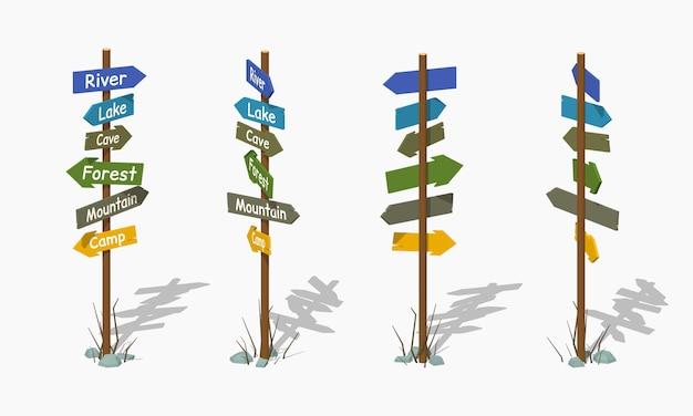 Poste indicador de madera con las flechas coloridas. ilustración de vector isométrica 3d lowpoly.