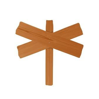 Poste indicador o cartelera hecha de un par de tablones cruzados de madera áspera y poste clavado juntos. letrero sin cortar vacío aislado sobre fondo blanco. elemento de diseño de dibujos animados. ilustración colorida
