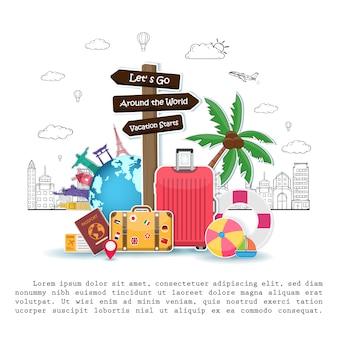 Poste indicador y objetos de viaje, accesorios y elementos de verano con equipaje.