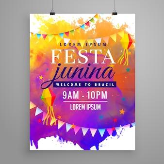 Póster abstracto colorido para festa junina