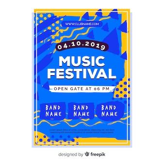 Póster abstracto de festival de música dibujado a mano