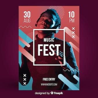 Poster abstracto de festival de música con imagen