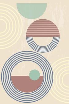 Póster abstracto con formas geométricas y líneas en estilo boho