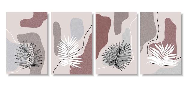 Póster abstracto con formas mínimas y arte lineal de flores y hojas.