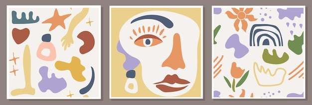 Póster abstracto con un retrato de mujer y patrones sin fisuras con composiciones minimalistas