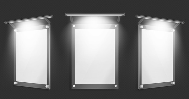Póster de acrílico, marco de vidrio en blanco con iluminación para colgar en la pared aislada sobre fondo negro