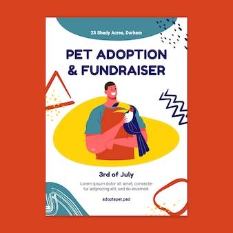 Póster de adopción y recaudación de fondos de mascotas.