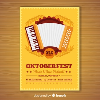 Póster adorable de fiesta del oktoberfest con diseño plano
