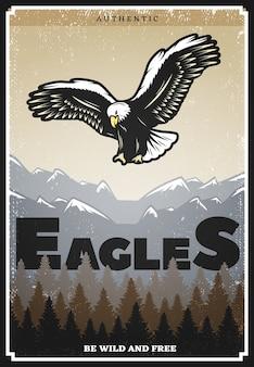 Póster águila americana de color vintage
