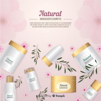 Poster de anuncio realista de cosméticos naturales