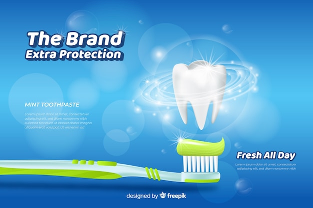 Poster de anuncio realista de pasta de dientes fresca