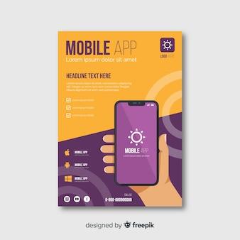 Póster aplicación móvil mano plana