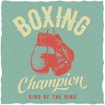 Póster campeón de boxeo