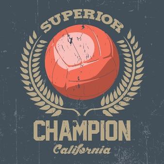 Póster del campeón superior de california con una gran bola en la ilustración del centro