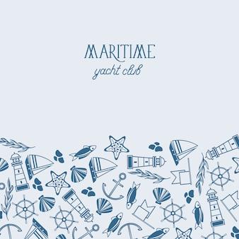 Póster del club náutico marítimo con diferentes símbolos azules y blancos que incluyen peces, barcos, marinos y patrones sin fisuras en un solo papel