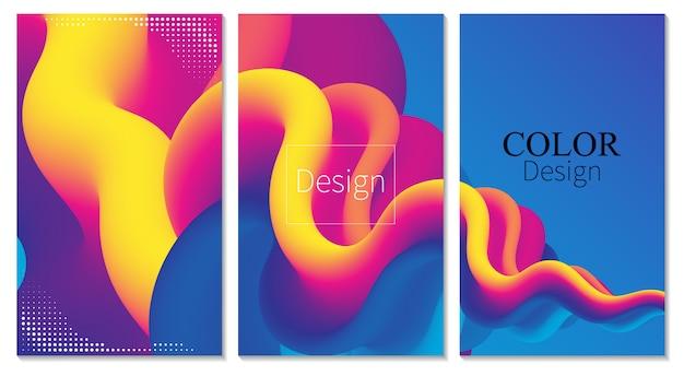 Póster en color. ola. juego de tapas. fondo líquido. flujo de fluido. fondo de color abstracto. sonido electrónico. resumen fluido. onda líquida. color 3d. fluir . cartel de música. diseño 3d de ondas. .