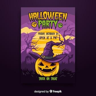 Póster colorido de fiesta de halloween dibujado a mano
