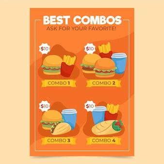 Póster de comidas combinadas