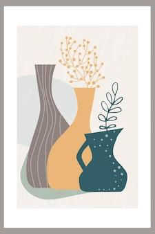Póster con una composición abstracta de formas simples con hojas de palmeras tropicales en un jarrón