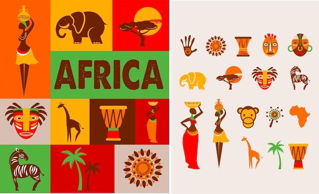Póster con conjunto de ilustraciones de áfrica