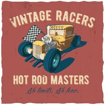 Póster de los corredores de hot rod masters con coche en rojo