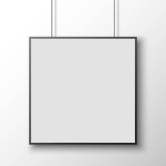 Póster cuadrado blanco y negro en la pared blanca. bandera. ilustración.