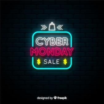Poster de cyber monday con luces de neón
