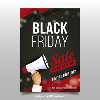Póster de black friday con megáfono
